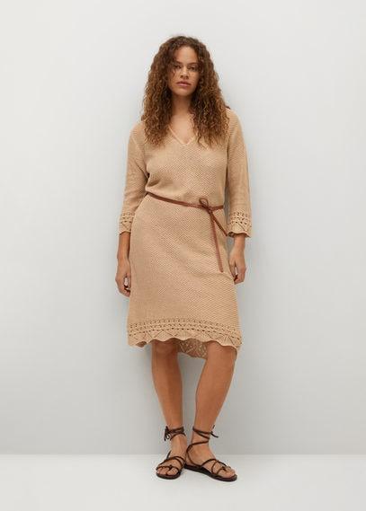 Платье ажурной вязки с поясом - Rabat