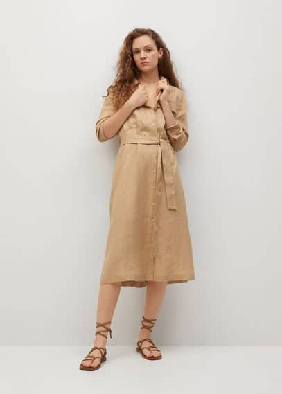 Платье-рубашка хлопок и лен - Elea