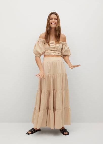 Расклешенная юбка из поплина - Tafa-l