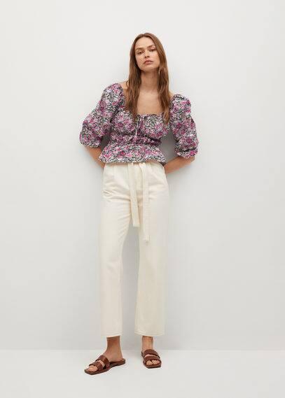 Блузка с принтом и рукавами-фонариками - Linda
