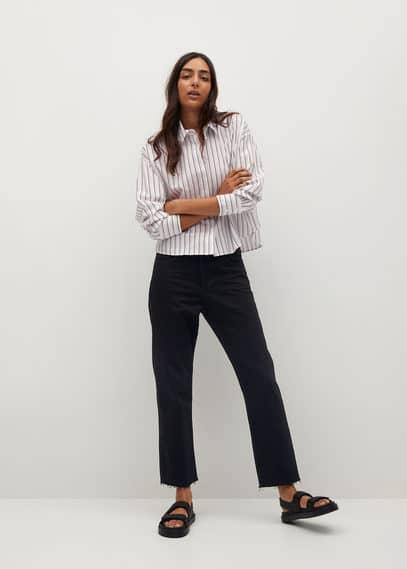 Укороченная рубашка из хлопка - Crop