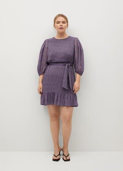 Платье с принтом и рукавами-фонариками - Lili