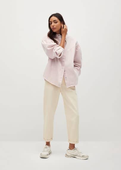 Верхняя рубашка из денима с рукавами-фонариками - Caramel
