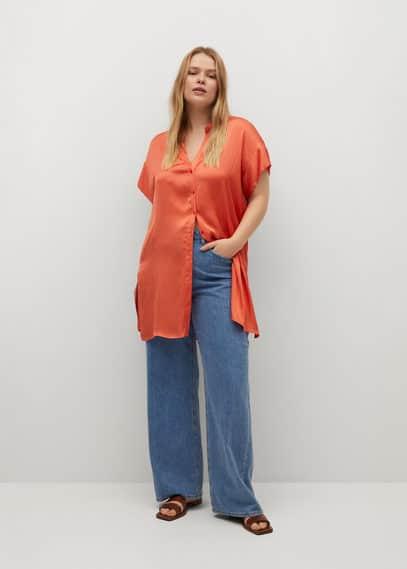 Длинная атласная блузка  - Ruthi8