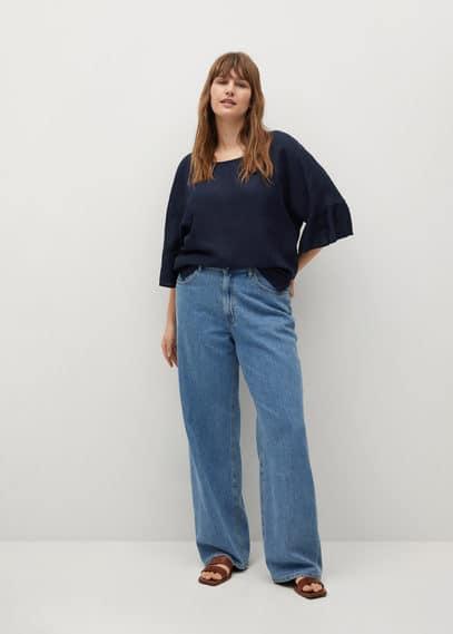 Льняная блузка с расклешенными рукавами - Cotili8