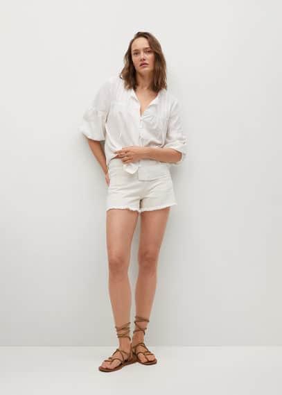 Льняная блузка с пуговицами - Friday