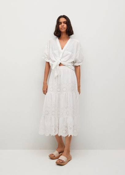 Хлопковая юбка со швейцарской вышивкой - Bimba