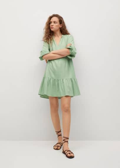 Льняное платье с воланом - Jane
