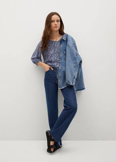Принтованная блузка с пуговицами - Grape