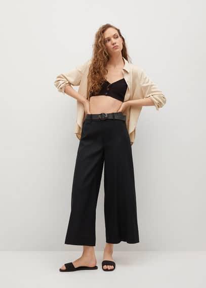 Льняные брюки с поясом - Cel