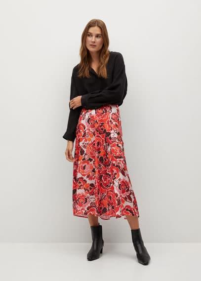 Струящаяся юбка с принтом - Pink-h