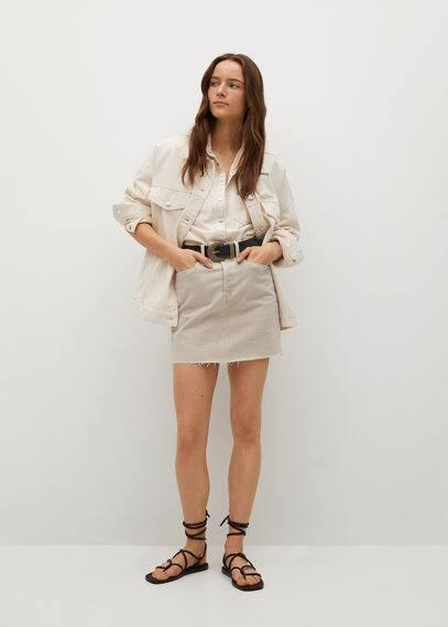 Джинсовая мини-юбка с бахромой по низу - Rachel