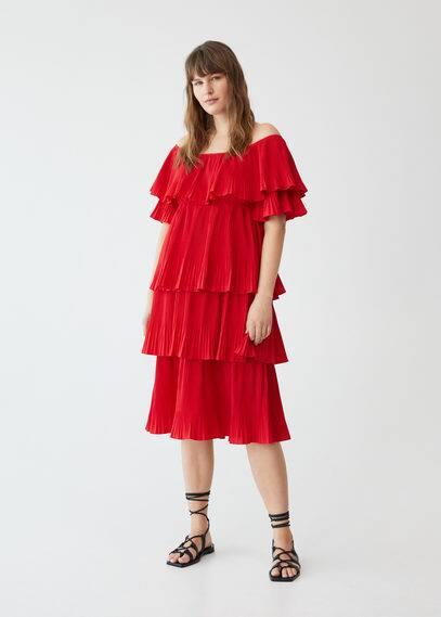 Платье с воланами и плиссировкой - Rouge