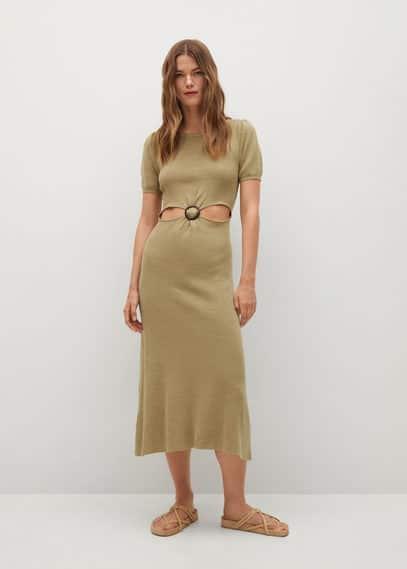 Льняное платье с разрезом - Carey