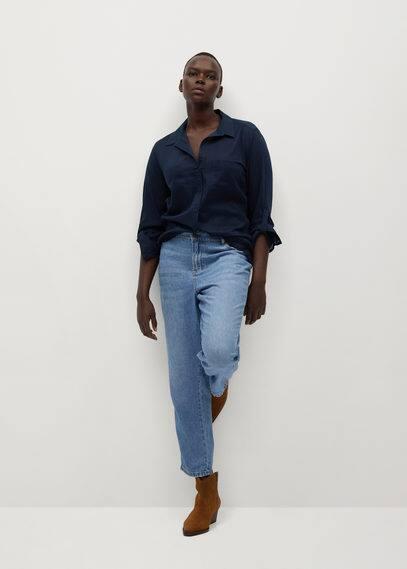 Хлопковая комбинированная рубашка - Plana7
