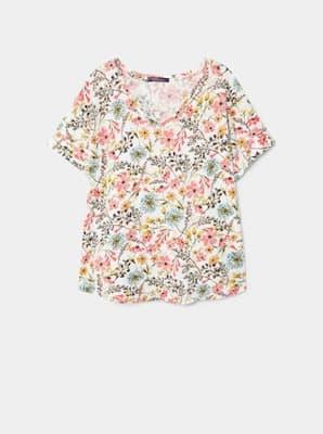 T-shirt en lin imprimé